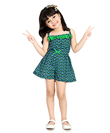 Little Pockets Store Funky Frill Romper - Green