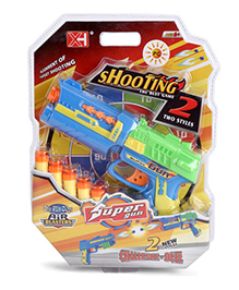 Playmate Toy Gun With Bullets - Green And Blue