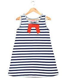 CrayonFlakes Classy Stripes Knit Dress - Navy & White