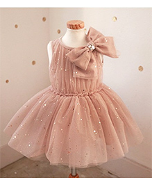 Superfie Party Wear Frock With Bow - Beige