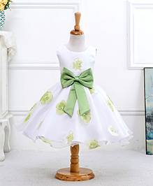 Pre : Order Superfie Flower Print Bow Dress - Green