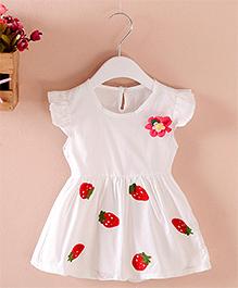 Pre : Order Superfie Strawberry Print Dress - White