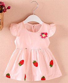 Pre : Order Superfie Strawberry Print Dress - Light Pink