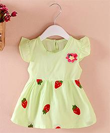 Pre : Order Superfie Strawberry Print Dress - Light Green