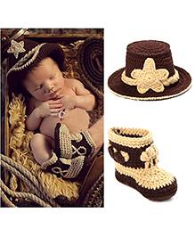 Princess Cart Cowboy Hat & Booties - Brown