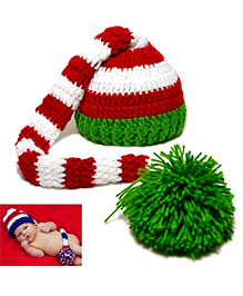 Princess Cart Long Tail Xmas Beanie - Red White & Green