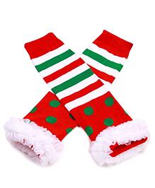 Princess Cart Christmas Ruffle Leg Warmer - White & Red