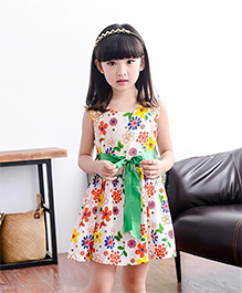 Teddy Guppies Sleeveless Frock Floral Print - Multicolour