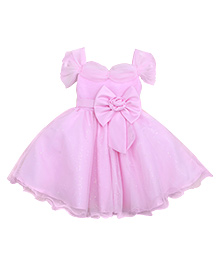 Teddy Guppies Short Sleeves Party Frock Bow Applique - Pink