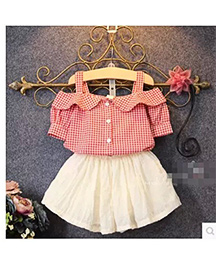 Teddy Guppies Party Wear Check Shirt And Skirt - Red White