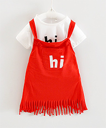 Teddy Guppies Sleeveless Frock With Inner Top Hi Print - Red White