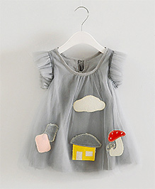 Teddy Guppies Short Sleeves Party Frock Patch Work - Grey