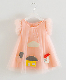 Teddy Guppies Short Sleeves Party Frock Patch Work - Peach