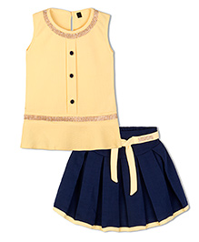 Stupa Fashion Sequence Work Top & Skirt Set - Yellow & Blue
