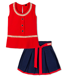 Stupa Fashion Sequence Work Top & Skirt Set - Red & Blue
