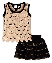 Stupa Fashion Cut Work Cite Tutu Skirt & Top - Black