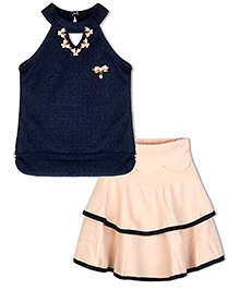 Stupa Fashion Tutu Skirt & Top With Neckless & Side Bow - Blue