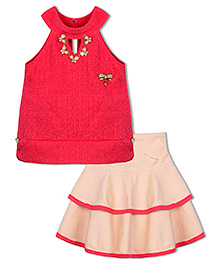 Stupa Fashion Tutu Skirt & Top With Neckless & Side Bow - Pink