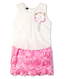 Stupa Fashion Cute Baby Dress With Side Flower - Pink