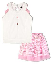 Stupa Fashion Tutu Skirt With Back Net Work Top - Pink