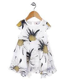 Adores Flower Print Dress - White & Black