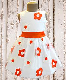 A.T.U.N Summer Floral Delight Dress - White & Orange