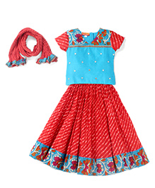 Exclusive From Jaipur Half Sleeves Chaniya Choli and Dupatta Set Floral Print - Blue Red