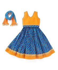 Exclusive From Jaipur Sleeveless Chaniya Choli and Dupatta Set - Blue Yellow
