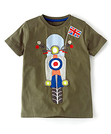 Petite Kids Scooty Patch Work Tee - Olive Green