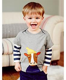 Petite Kids Full Sleeve Patch Work Tee - Grey