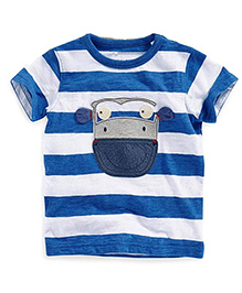 Petite Kids Striped Tee With Patch Work - Blue & White