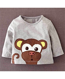 Petite Kids Tee With Monkey Patch Work - Grey