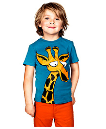 Petite Kids Giraffe Printed Tee - Blue