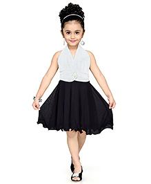 Aarika Girl's Layered Party Dress - White & Black