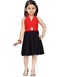 Aarika Girl's Layered Party Dress - Red & Black