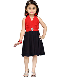 Aarika Girl's Layered Party Dress - Red & Black