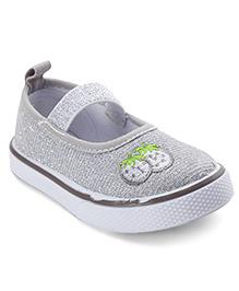 Cute Walk by Babyhug Canvas Shoes Strawberry Print - Silver