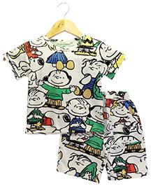 Funtoosh Kidswear Cartoon Print Boys Set - White & Multicolour