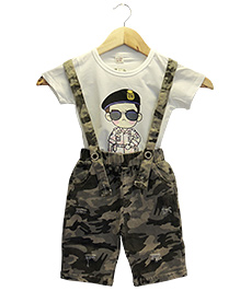 Funtoosh Kidswear Boys Dungaree Set - White & Brown