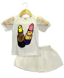 Funtoosh Kidswear Girls Lisptick Print Top & Skirt Set - White