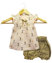 Funtoosh Kidswear Girls Top & Short Set - Peach