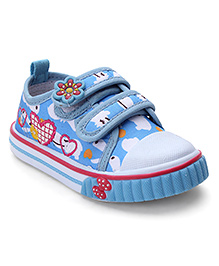 Cute Walk by Babyhug Heart Printed Shoes - Blue & White