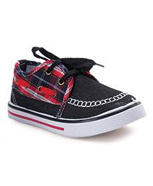 Cute Walk by Babyhug Check Print Casual Shoes - Black