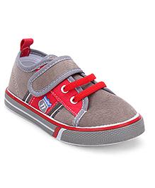 Cute Walk by Babyhug Canvas Shoes - Grey & Red