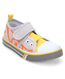 Cute Walk by Babyhug Canvas Shoes - Yellow & Grey