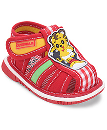 Cute Walk by Babyhug Sandals Cartoon Patch -  Red
