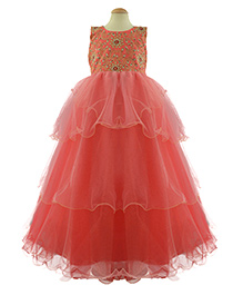 Simply Cute Embroidered Yoke With Flowers On Round Neckline - Coral