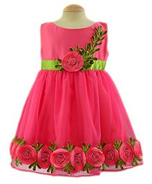 Simply Cute Flower & Leaf Applique Dress - Fuchsia
