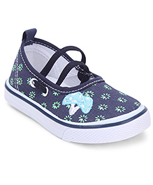 Cute Walk by Babyhug Floral Printed Shoes - White & Navy Blue