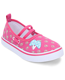 Cute Walk by Babyhug Floral Printed Shoes - White & Pink